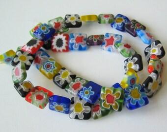 Millefiori Glass Beads Square