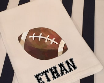 Personalized Sports Football White Flour Sack Hand Towel Boys Girls Bathroom Hand Towel Birthday Party Favor Sports Gift