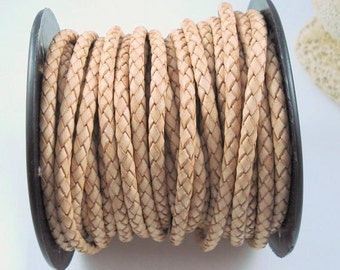 Leather Braided Cord, 6MM Natural Bolo Leather, Excellent Quality All Leather, Tan Leather, ONE YARD