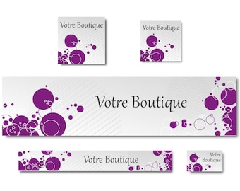 Creative banner Etsy banner shop banner custom banner, purple bubbles