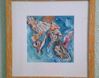 Found Shells I, Framed Original Acrylic Impressionistic Ocean Shell Painting