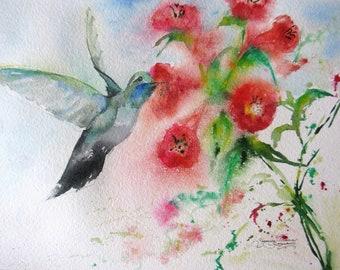 Hummingbird watercolor art print, bird watercolor print painting, fuschia flowers art print, wall decor, garden painting, bird flower print