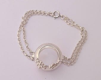 Sterling silver handmade hollow disc bracelet with granulation, hallmarked in Edinburgh
