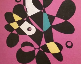 Original Abstract in pink and black