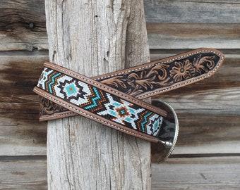 Western Leather Beaded Belt