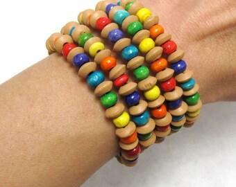 Rainbow Wood Wrap Bracelet Color Burst Beaded Cuff 5 Loop