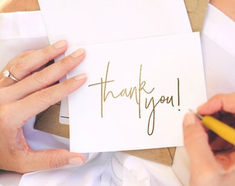 Gold Thank You Card, Wedding Thank You, Thank You Card Template, Thank You Printable, Folded, Tented, PDF Instant Download #BPB323_27