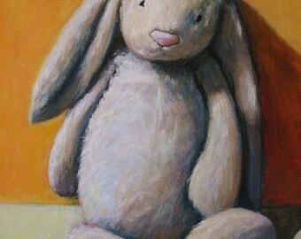 "Jellycat Bunny Stuffed Toy Print 8""x10"" Nursery Art"