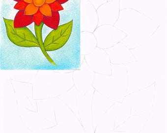 Starburst flower, Watercolor painting kit