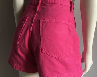 Vintage Women's 80's Hot Pink, Jean Shorts, High Waisted by Hot Kiss (M)