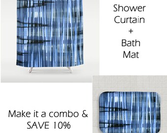 Blue Shower Curtain-71x74-Abstract Bath Decor-Modern Bathroom-Black & Blue Bath Curtain-Masculine Bathroom Decor-Gift Idea-Geometric Decor