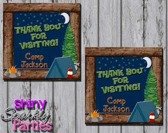 Printable CAMPING FAVOR TAGS - Camping Party Favor Tags - Camping Thank You Tags - Camping Bag Tags - Camping Birthday Party Gift Tags