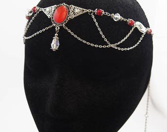 "Forehead / Headband / Tiara / Circlet / Hair ornament Accessory ""Reine"" / Elven Elf Fairy Gothic / Color Silver & Red"