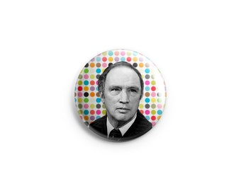 """Pierre Trudeau button, 1.25"""" pinback button, pin, badge, magnet, Canadiana stocking stuffer, Canadian history gift, famous Canadians"""