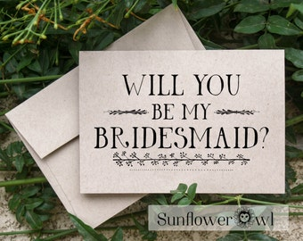 Will you be my Bridesmaid, rustic wedding, recycled wedding, flower girl card from bride engagement Maid of Honor wedding party