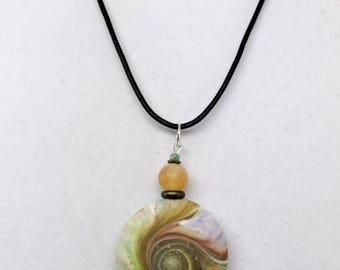 Karma Spiral Pendants - #277 Polymer Clay Pendant, Good Luck Charm, Good Karma, Handmade, One of kind, Unique Gift, Boho Jewelry