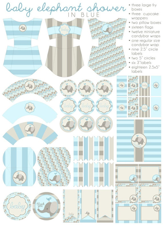 blue elephant baby shower printables pdf printable party