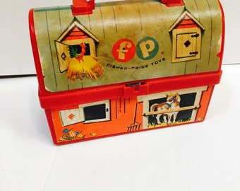 Fisher Price Farmhouse Barn Lunchbox pail - vintage