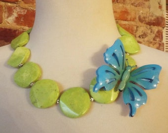 Lime Green Turquoise Howlite Statement Necklace w/Vintage Butterfly Brooch