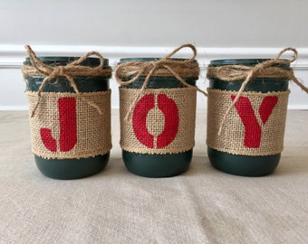 Christmas Mason Jar // Joy // Country Decor // Farmhouse Holiday Decor // Silverware Holder // Vases // For the Mantle