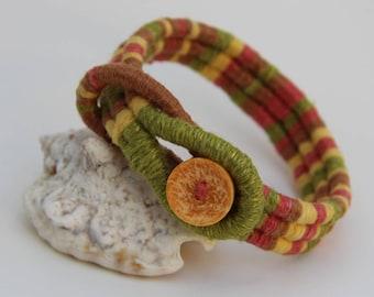 """Yellow/Tan/Coral Boho Bracelet 7.5"""""""