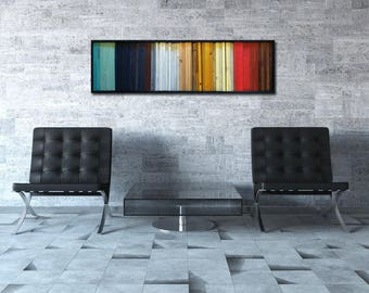 "Colorful Wood Art - Modern Wood Wall Art - ""Gradient"" - Wood Stripes in Red, Yellow, Teal - 16""x55"" - Wood Wall Art"