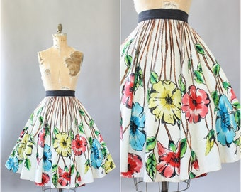 Vintage 50s Dress/ 1950s Cotton Skirt/ Jacmarg Bold Floral Cotton Full Circle Mexican Skirt M