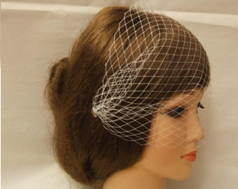 "20% OFF Birdcage veil Bandeau Style Blusher veil.9 "" Bridal birdcage veil,2 side mini comb French/Russian net White,Ivory Veil.Hair acessory"