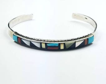 Native American Zuni handmade Sterling Silver channel inlay multi-stone cuff bracelet