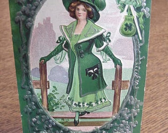 St Patricks Day Vintage Postcard St Patricks Day Maid High Fashion 1910
