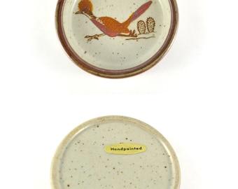 Vintage Roadrunner Tray, Speckled Stoneware Bowl, Vintage Ashtray, Handpainted Stoneware, Desert Motiv Pottery Plate, Small Pottery Saucer