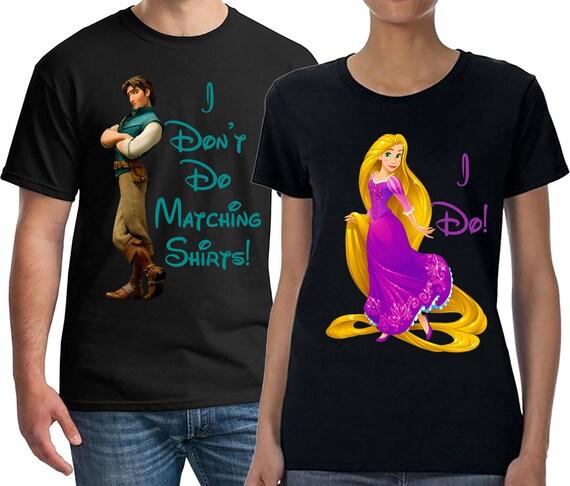 Disney, Disney Couples Shirts, I Don't Do Matching Shirts, Honeymoon Shirts, Rapunzel and Flynn Rider, Disney Shirts