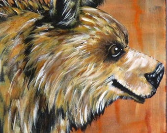 It's a Bear Painting, Original Acrylic Painting on Stretched Canvas, 9 x 12 inch wall decor, Impressionism Bear Wall Art, Handpainted Gift