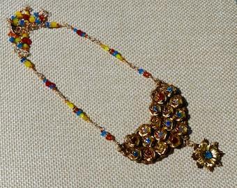 Rose necklace, rhinestones, Swarovski crystals, gold flowers, flower drop, Summer colors, handmade original design, bezel set roses