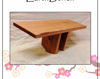 "OAK MEDITATION BENCH ~ Kneeling ""Pi-style"" Meditation Stool by EarthBench ~ All-Natural Beeswax Finish.  One-Size Comfort-fit Leg Style"