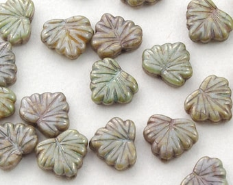 Maple Leaf Green with Hints of Purple and Topaz Luster Picasso Czech Glass Beads 13mm - 10