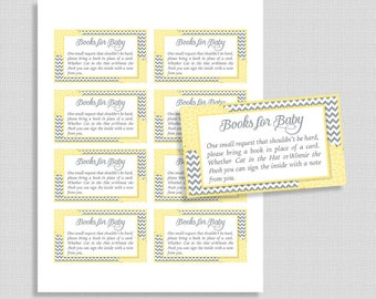 Books For Baby Cards, Yellow & Grey Floral Mums Bring a Book Instead of Card Invitation Inserts, DIY Printable, INSTANT DOWNLOAD