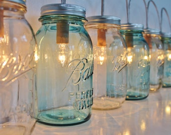 Mason Jar Lamp BANNER Style Lighting Fixture With Antique Blue and Clear Quart Jars - Rustic Wedding String Of Lights - BootsNGus Lamps