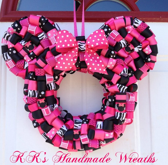 Items Similar To Zebra Print Minnie Mouse Ribbon Wreath On