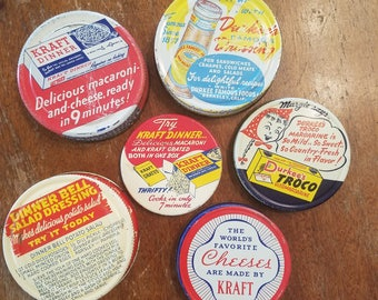 6 Vintage Advertising Jar Lids