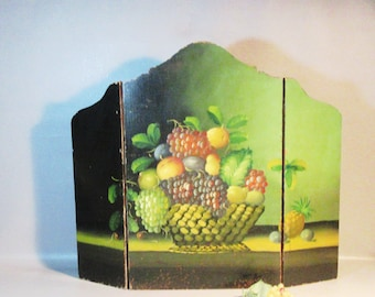 Hand Painted Hinged Fire Screen Oil On Wood Still Life Fruits In Basket c1920