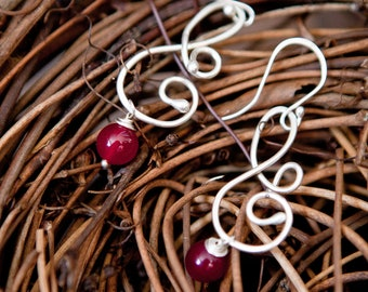 Red Jade Argentium Sterling Silver Musical Melody Earrings