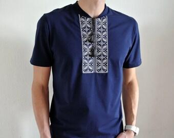 Mens Vyshyvanka shirt Ukrainian gift Ukrainian embroidery Embroidered tshirt Short sleeve shirt Ethnic clothing