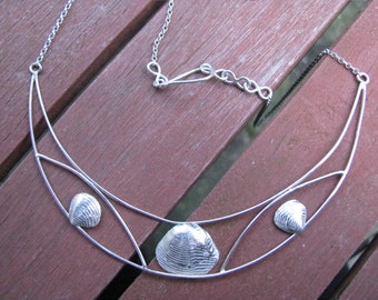 Sterling silver and Venus shell statement necklace