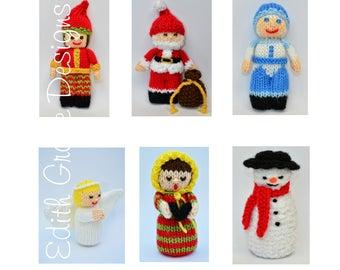 Christmas Toy Knitting Pattern, Doll Knitting Pattern, Angel, Christmas Carolers, Santa Claus, Snowman, Elf, Amigurumi, Knit Doll, Rag Doll