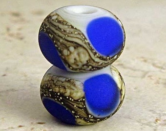 Handmade Lampwork Glass  Bead Pair with Silvered ivory Organic Webbing Etched Finish 11x7mm Cobalt Blue on Gray Velvet