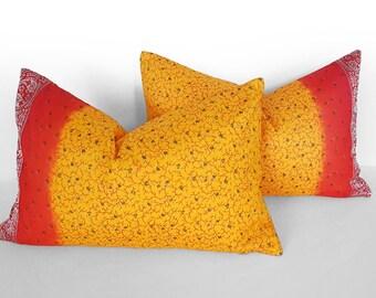 Sari Pillows, Bohemian Pillow Cover, Set of 2, Bohemian Throw Pillow, Pair Red Yellow Boho Pillow, Repurposed Saree, Ethnic Pillow, 14x22