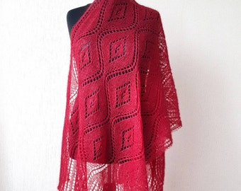 Knit wine lace mohair silk stole, Evening wrap shawl, Knitted lace shawl, Burgundy mohair silk wrap shawl, Hand knit Scarf, Gift for her