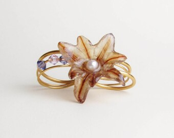 Real Flower Jewelry, Hyacinth Double Loop Ring, 18ct Gold Plated, Handmade Botanical Jewellery