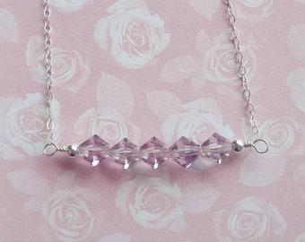 Light Amethyst Swarovski Crystal and Sterling Silver Bar Necklace